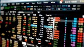 Gráfico dos dados da carta financeira do mercado de valores de ação, dados do mercado de valores de ação no diodo emissor de luz filme