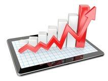 Gráfico e carta no PC da tabuleta - conceito da estatística de negócio Fotografia de Stock Royalty Free