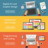 Gráfico e design web, programando, arte digital, ilustração stock