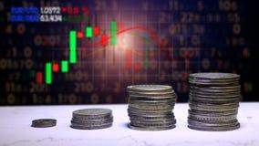 Gráfico e fileiras das moedas para o conceito da finança e do negócio filme