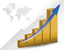 Gráfico e mapa de negócio Fotografia de Stock Royalty Free