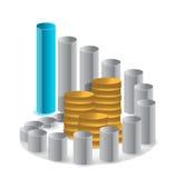 Gráfico e pilha de moedas Fotografia de Stock Royalty Free