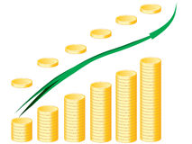 Gráfico e seta das moedas de ouro Fotografia de Stock
