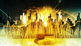 Gráfico económico del mercado de acción Fotografía de archivo libre de regalías