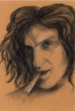 Gráfico El hombre con el cigarro Foto de archivo libre de regalías