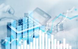 Gráfico em fileiras das moedas para a operação bancária, finança na troca financeira digital do mercado de valores de ação e gráf ilustração stock