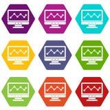 Gráfico en hexahedron determinado del color del icono de la pantalla de ordenador Foto de archivo libre de regalías