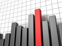 Gráfico escuro metálico do negócio com a uma coluna vermelha Fotografia de Stock Royalty Free