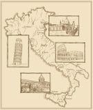 Gráfico estilizado de la tinta del mapa viejo de Italia Imagenes de archivo