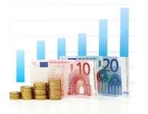 Gráfico euro cada vez mayor Fotos de archivo libres de regalías