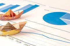 Gráfico euro de la papiroflexia del dinero del barco Fotografía de archivo libre de regalías