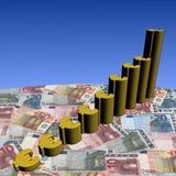 Gráfico euro del símbolo en el dinero en circulación Fotografía de archivo
