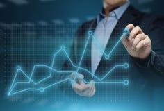 Gráfico financeiro Carta do mercado de valores de ação Conceito da tecnologia do Internet do negócio do investimento dos estrange fotografia de stock