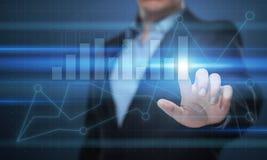 Gráfico financeiro Carta do mercado de valores de ação Conceito da tecnologia do Internet do negócio do investimento dos estrange Imagens de Stock