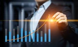 Gráfico financeiro Carta do mercado de valores de ação Conceito da tecnologia do Internet do negócio do investimento dos estrange Imagem de Stock