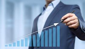 Gráfico financeiro Carta do mercado de valores de ação Conceito da tecnologia do Internet do negócio do investimento dos estrange Fotos de Stock Royalty Free
