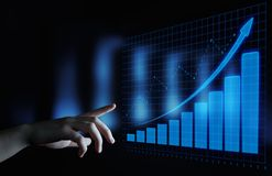 Gráfico financeiro Carta do mercado de valores de ação Conceito da tecnologia do Internet do negócio do investimento dos estrange fotos de stock