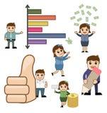 Gráfico financeiro e do negócio dos desenhos animados ilustração stock