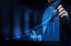 Gráfico financiero Carta del mercado de acción Concepto de la tecnología de Internet del negocio de la inversión de las divisas foto de archivo libre de regalías