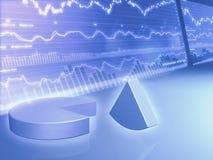 Gráfico financiero con el gráfico de sectores stock de ilustración