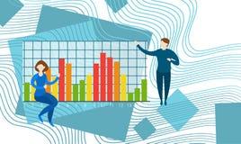 Gráfico financiero del análisis de Finance Business Data del contable de actividades bancarias de los empresarios stock de ilustración