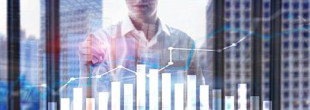 Gráfico financiero del crecimiento Aumento de las ventas, concepto de la estrategia de marketing imagen de archivo