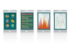 Gráfico financiero en el teléfono elegante Imagen de archivo libre de regalías