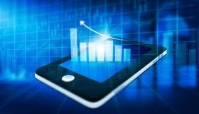 Gráfico financiero en la PC de la tableta Imagenes de archivo