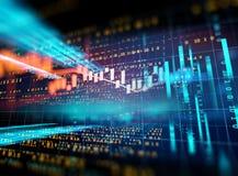 Gráfico financiero técnico en fondo del extracto de la tecnología Imagenes de archivo
