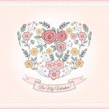 Gráfico floral com coração Imagens de Stock Royalty Free