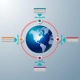 Gráfico global da informação da tecnologia do mundo Ilustração Royalty Free