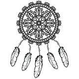 Gráfico ideal del colector en blanco y negro adornado con las plumas y las gotas que dan a su dueño buenos sueños en estilo de la Imagen de archivo