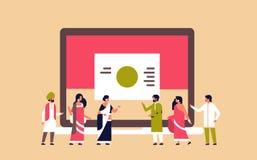 Gráfico indio del diagrama de la presentación del negocio de la gente que trabaja junto la bandera plana del concepto acertado de libre illustration