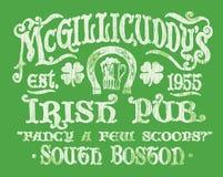 Gráfico irlandés de la camiseta de la muestra del Pub del vintage Fotografía de archivo libre de regalías