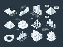 Gráfico isométrico El diagrama del negocio de Infographic traza la plantilla infographic vacía del vector de las formas del stats stock de ilustración