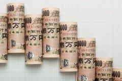 Gráfico japonés de la tendencia bajista de la moneda Imagen de archivo