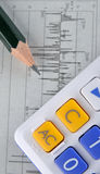 Gráfico, lápis e calculadora da estatística dos dados Fotografia de Stock Royalty Free