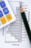 Gráfico, lápiz y calculadora de la estadística Fotos de archivo libres de regalías