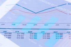 Gráfico linear de área de negócio Fotografia de Stock