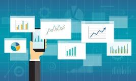 Gráfico plano del analytics del negocio en el dispositivo móvil stock de ilustración