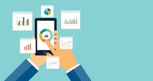 Gráfico plano del analytics del negocio en el dispositivo móvil ilustración del vector