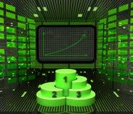Gráfico positivo do negócio previsto ou resultados com pódio do campeão ilustração stock
