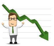 Gráfico que diminui postively Imagem de Stock Royalty Free