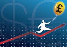 Gráfico que sube del hombre de negocios con el baloon del dinero en circulación Fotos de archivo libres de regalías