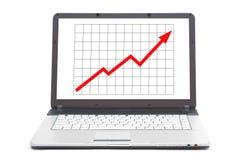 Gráfico que va ascendente en la pantalla del cuaderno Fotografía de archivo libre de regalías