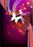 Gráfico retro rojo y púrpura cobarde Foto de archivo libre de regalías