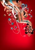 Gráfico retro vermelho Funky Fotografia de Stock