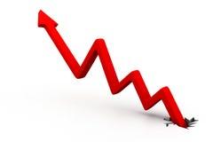 Gráfico rojo de la flecha del negocio Foto de archivo libre de regalías