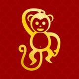 Gráfico rojo del fondo del mono de oro Imagen de archivo libre de regalías