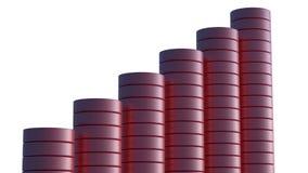 Gráfico rojo del polo 3D que muestra aumento estable Fotografía de archivo